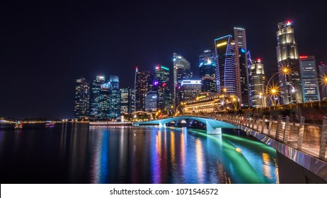Long Exposure of cityscape night light view of Singapore skyline at night