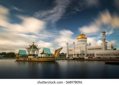 Long exposure of the clouds drifiting over Sultan Omar Ali Saifuddin Mosque in Bandar Seri Begawan, Brunei.