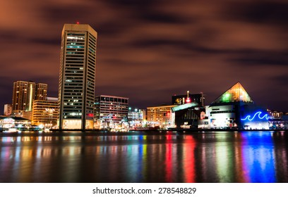 Long exposure of the colorful Baltimore skyline at night, Maryland