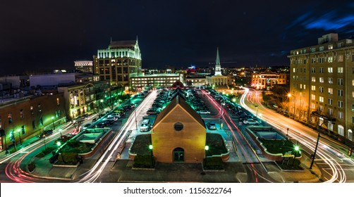 Long Exposure of the Downtown Greenville, South Carolina, USA Skyline at Night.