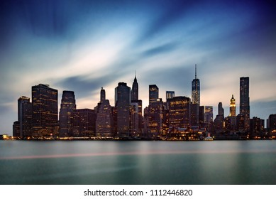 Long exposure of downtown New York City at sunset