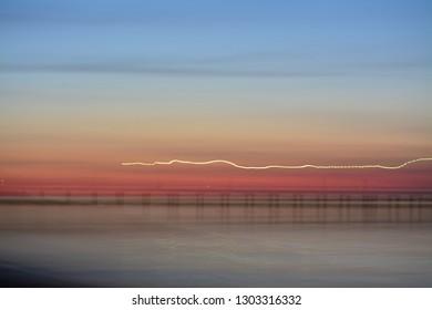 Long exposure of Dromana Pier at sunset - Mornington Peninsula, Victoria, Australia