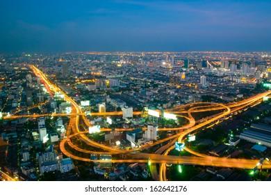 Long exposure of Express way in Bangkok city at twilight
