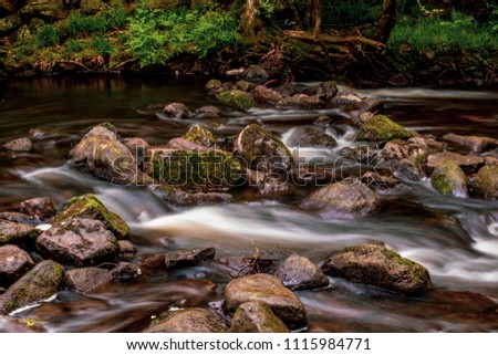 Long exposure of fast moving water in Dartmoor National Park