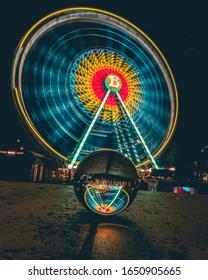 long exposure of a ferrys wheel