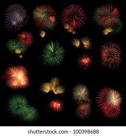 Long Exposure of Fireworks selection on black background