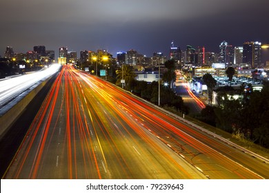 Long exposure of freeway and city skyline of San Diego, California