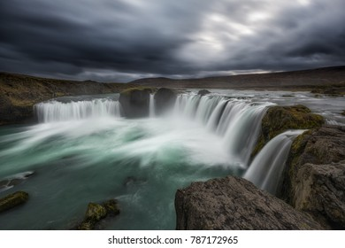 Long exposure at Godafoss waterfall in Iceland