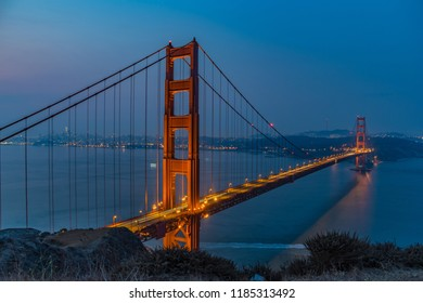 A long exposure of the golden gate bridge at about 6 am in the morning.  Needed a 5 second exposure to get the exposure correct due to the blue hour in the morning.