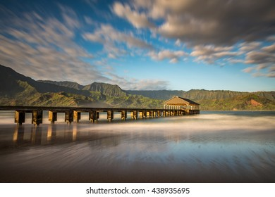 long exposure of Hanalei pier at sunrise on the beautiful Island of Kauai, Hawaii