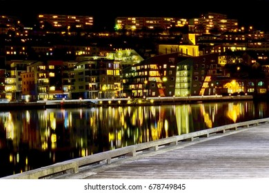 A long exposure of a harbor in Bergen in Norway