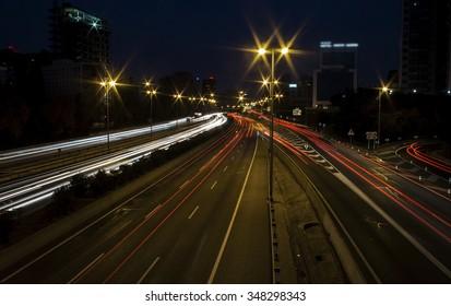 Long exposure highway car lights at night