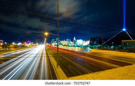 Long exposure highway with car lights flowing like a river in the night