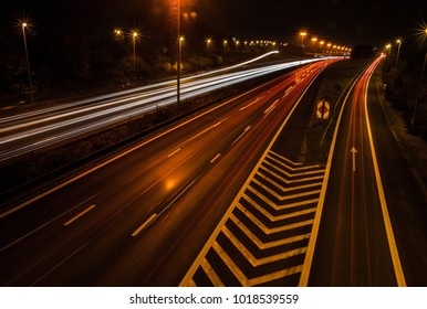 long exposure of highway E17 in Waregem, Belgium