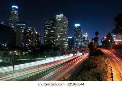 long exposure image of downtown Los Angeles at night