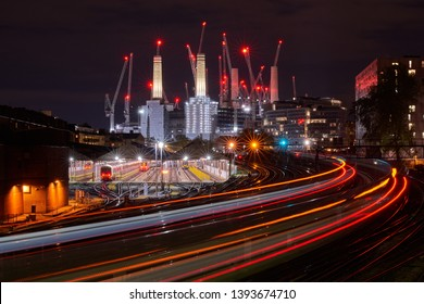 Long exposure image of the famous Battersea power station during it's restoration in Wandsworth, London designed by Leonard Pearce