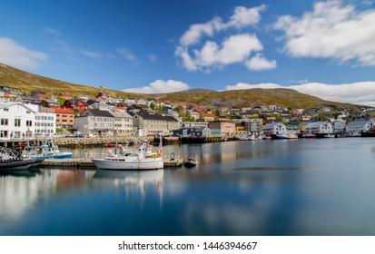 Long exposure image of the harbor in Honningsvag Norway.