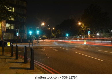 Long exposure image of a London street at night