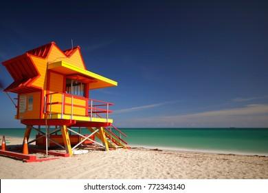 Long exposure image of a Miami Beach lifeguard tower atlantic ocean