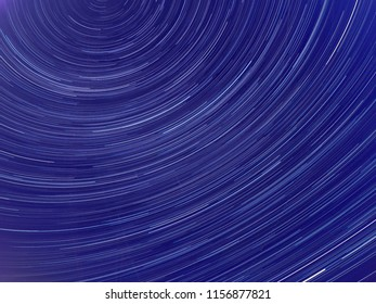 Long exposure image showing Night sky star trails