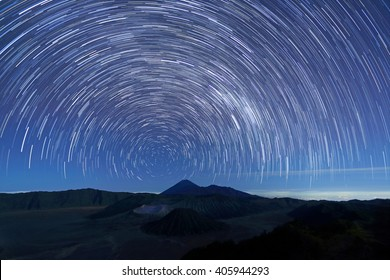 Long exposure image showing star trails over Mt.Bromo Volcano, East Java,Indonesia