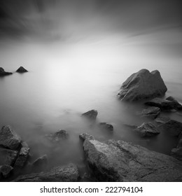 Long exposure image of stone or rock ( black and white)