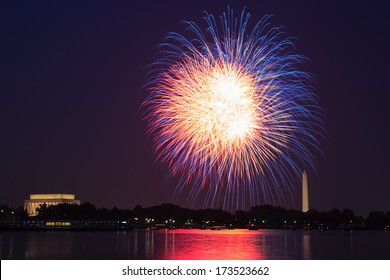 Long exposure of July Fourth fireworks over the National Mall between the Washington Monument and Lincoln Memorial in Washington DC.