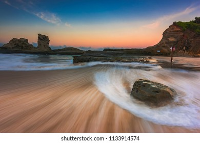 Long exposure of Klayar beach, Pacitan, East Java, Indonesia