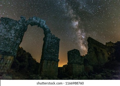 Long exposure landscape of the milky way and stars in Uzuncaburc, Silifke, Mersin, Turkey. Uzuncaburc is in the rural area of Silifke district which is a part of Mersin Province.