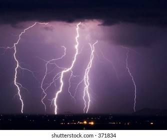 Long exposure lightning display in southwestern United States