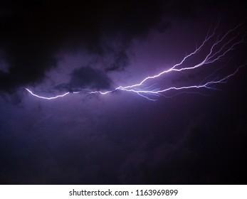 long exposure lightning shot. Taken during a thunderstorm on the west coast of Sri Lanka.