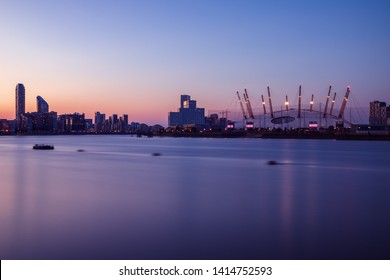 Long exposure, London cityscape with O2 arena