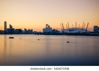 Long exposure, London cityscape with the O2 arena