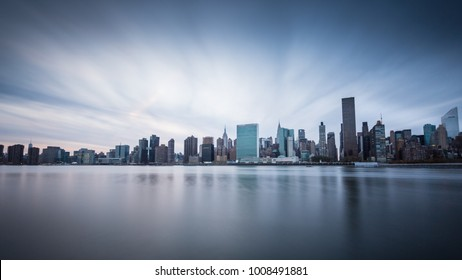 Long exposure of the Manhattan skyline during the Blue Hour