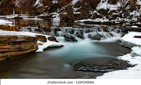 Long exposure of Mark Creek Marysville Falls near Kimberley British Columbia Canada in the winter East Kootenays