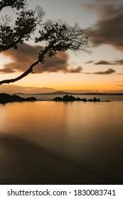 Long exposure in New Zealand of Rangitoto from Omana Beach