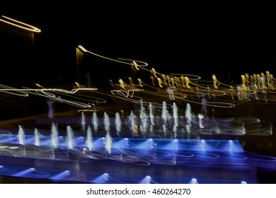 Long exposure of newly built fountains on the green belt close to the National and University Library in Zagreb