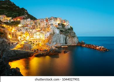 A long exposure night photo of Manarola,Italy,Cinque Terre National Park,Liguria,Europe