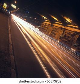 Long exposure of night traffic in Kyiv, Ukraine.