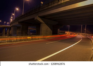Long exposure of night traffic light.