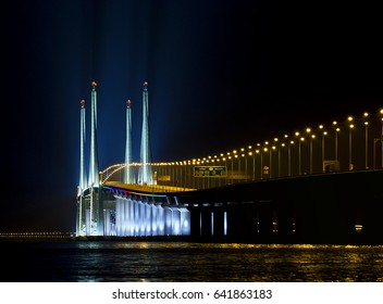 Long exposure night view of middle part of the penang bridge with beautiful colours