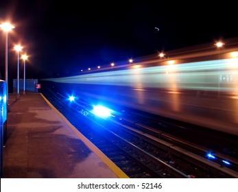 Long Exposure of A NYC Subway Train.