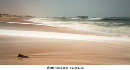 Long exposure of the old historic german jetty, the pier at Swakopmund, Namibia