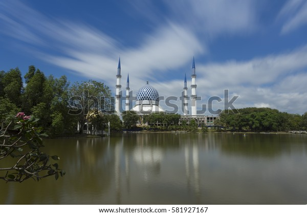 Long exposure on daylight and reflection of mosque (Sultan Sallehuddin Abdul Aziz Shah) Shah Alam, Malaysia