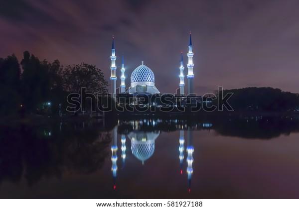 Long exposure on night and reflection of mosque (Sultan Sallehuddin Abdul Aziz Shah) Shah Alam, Malaysia