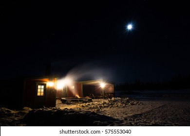 Long exposure of an outdoors sauna in Kiruna in Northern Sweden in the middle of winter.