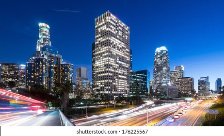 Long exposure overlooking downtown Los Angeles 110 freeway at dusk
