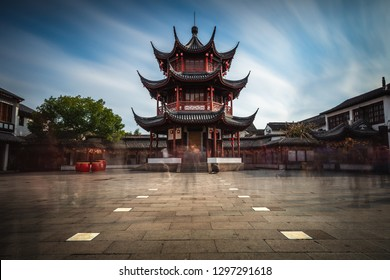 Long exposure of a pagoda in the center of Qibao Ancient Town, a small historical village in Shanghai, China.