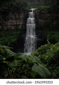 Long exposure panorama view of Bogota river waterfall Salto del Tequendama in Soacha Cundinamarca Colombia South America