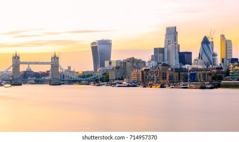Long exposure, panoramic view of London cityscape at sunset with landmarks